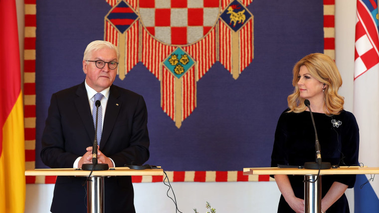 Frank-Walter Steinmeier and Kolinda Grabar-Kitarović (Photo: Goran Stanzl/PIXSELL)