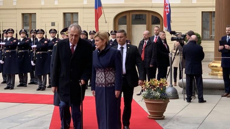 Czech President Miloš Zeman and Croatian President Kolinda Grabar-Kitarović (Photo: Ivica Grudiček/HRT)