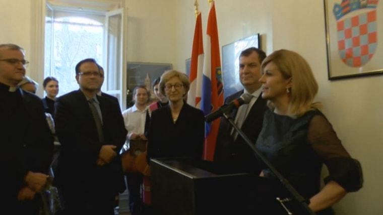 President Kolinda Grabar Kitarović in Croatian Embassy in Ottawa (Screenshot: HRT)