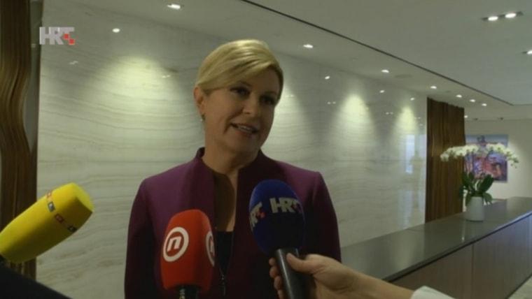 President Kolinda Grabar Kitarović in Hamilton (Screenshot: HRT)