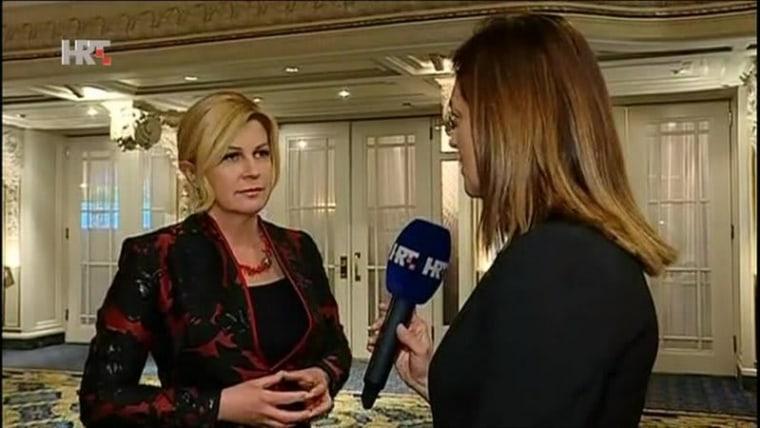 President Kolinda Grabar-Kitarović speaks to HRT about he visit to Canada (Photo: HRT)