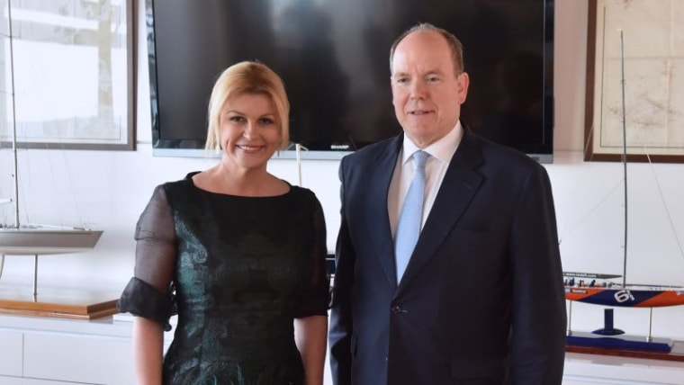 President Kolinda Grabar-Kitarović and Prince Albert II of Monaco (Photo: Office of the President of the Republic of Croatia)