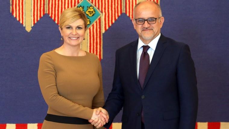 President Kolinda Grabar Kitarović (L) Montenegrin Foreign Minister Srđan Darmanović (R) (Photo: Marko Prpic/PIXSELL)