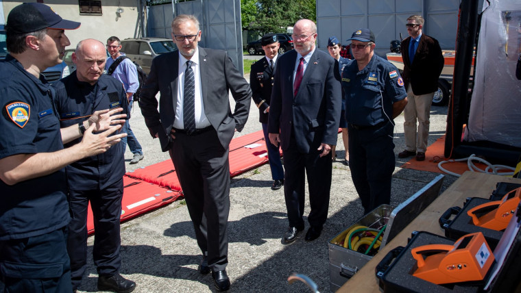 Interior Minister Davor Božinović and American Ambassador to Croatia Robert Kohorst (Photo: Davor Puklavec/PIXSELL)