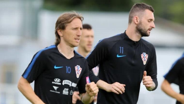Modrić und Brozović beim Training (Foto: Goran Kovačić_PIXSELL)