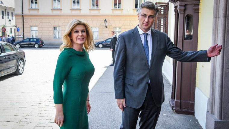 President Kolinda Grabar Kitarović HDZ Party Chairman and Croatian Prime Minister Andrej Plenković (Photo: Josip Regovic/PIXSELL)