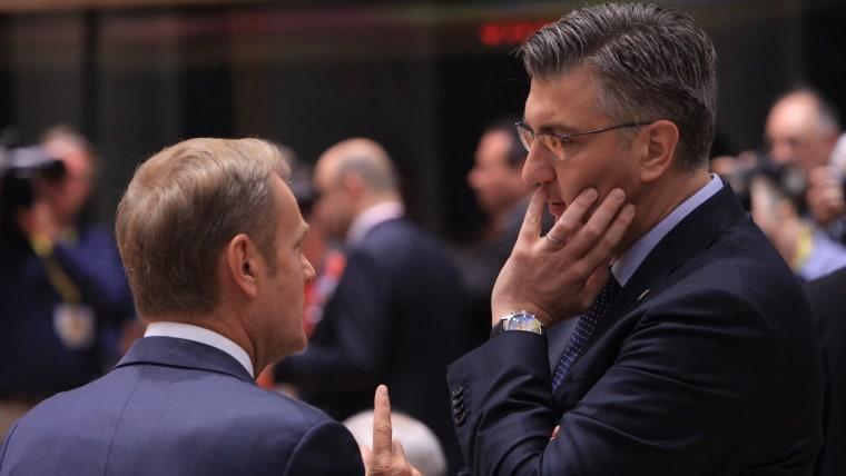 Der kroatische Ministerpräsident Andrej Plenkovic (R) Präsident des Europäischen Rates Donald Tusk (L) (Foto: Tomislav Krasnec / PIXSELL)