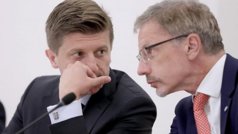 Finance Minister Zdravko Marić and central bank Governor Boris Vujčić (Photo: Patrik Macek/PIXSELL)