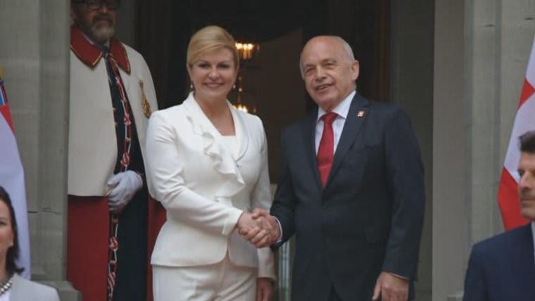 Mandataria croata y su colega suizo (Foto: HRT)