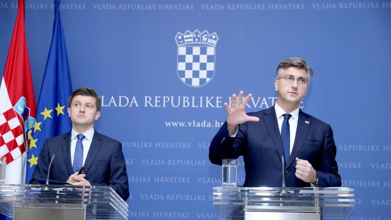 Premierminister Andrej Plenković und Finanzminister Zdravko Marić haben das vierte Steuerreformpaket vorgestellt. (Foto: HRT)