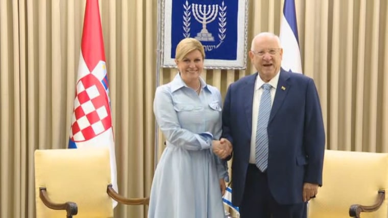 Croatian President Kolinda Grabar-Kitarović and Israeli President Reuven Rivlin in Jerusalem (Photo: HRT)