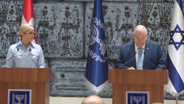 Presidentes de Croacia Grabar Kitarović y de Israel Rivlin (Foto: HRT)