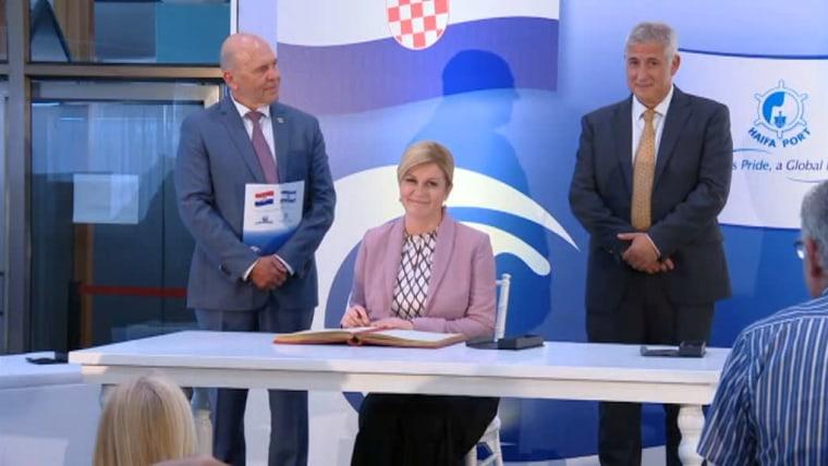 Präsidentin Kolinda Grabar-Kitarovic und Haifa (Foto: HRT)