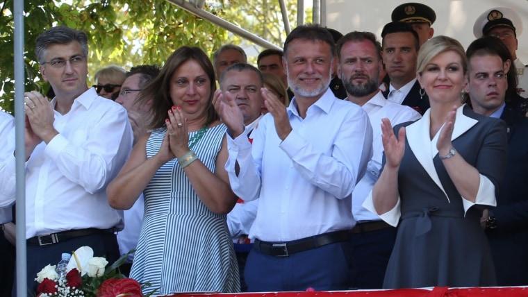 Prime Minister Andrej Plenković (L) Parliament Speaker Gordan Jandroković with his wife Sonja (C) President Kolinda Grabar Kitarović (R) (Photo: Ivo Cagalj/PIXSELL)
