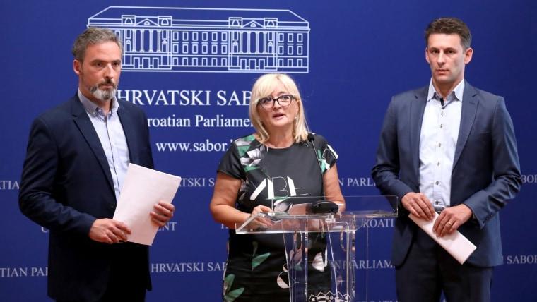 MOST MPs Ivan Bekavac (L) Ines Strenja Linić (C) Božo Pterov (R) (Photo: Patrik Macek/PIXSELL)