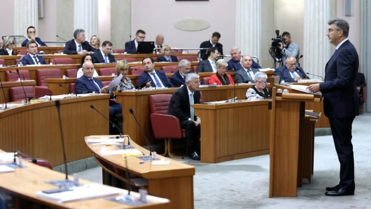 Prime Minister Andrej Plenković answers questions from MPs during the Q&A period in the Sabor (Patrik Macek/PIXSELL)