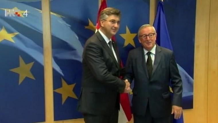 Premier Plenković con el presidente de la Comisión Europea, Jean Claude Junker (Foto: HRT)