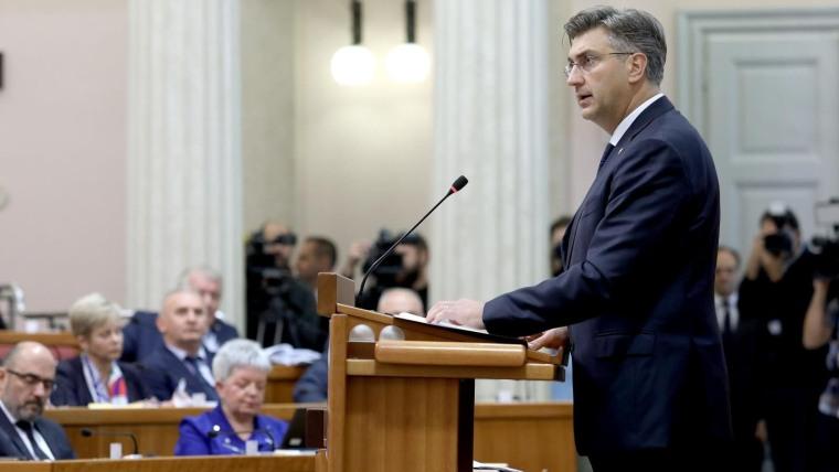 Anuncio el primer ministro Andrej Plenković en el Parlamento (Foto: HRT)