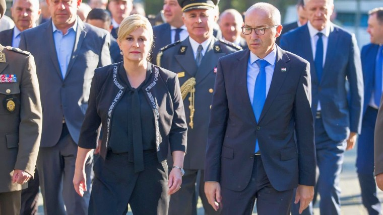 President Kolinda Grabar-Kitarović and Minister of Defence Damir Krstičević in Vukovar (Photo: Davor Javorovic/PIXSELL)