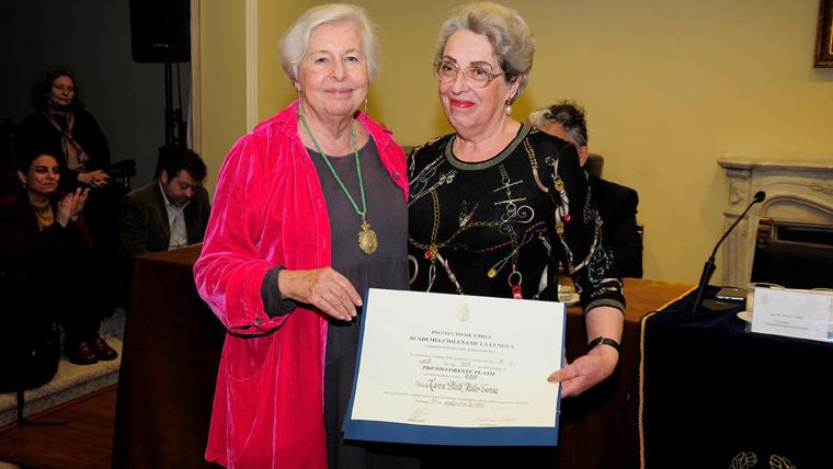 Directora de la Academia Chilena de la Lengua Adriana Valdés y Karen Müller (Foto: screenshot / archivo personal)
