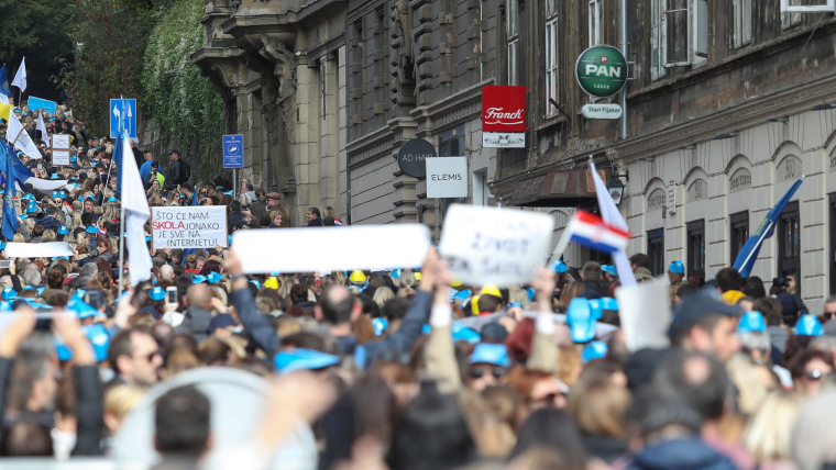 Manifestación de protesta de docentes en Zagreb (Foto: Luka Stanzl/PIXSELL)