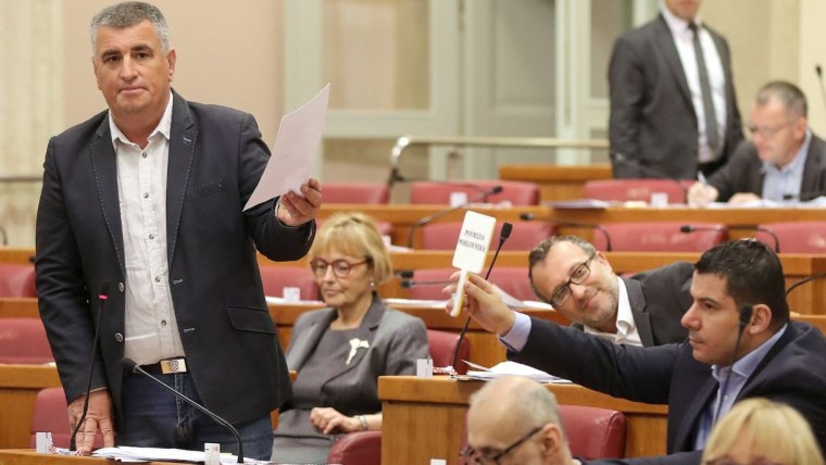 A scene from today's session of parliament (Photo: Goran Stanzl/PIXSELL)