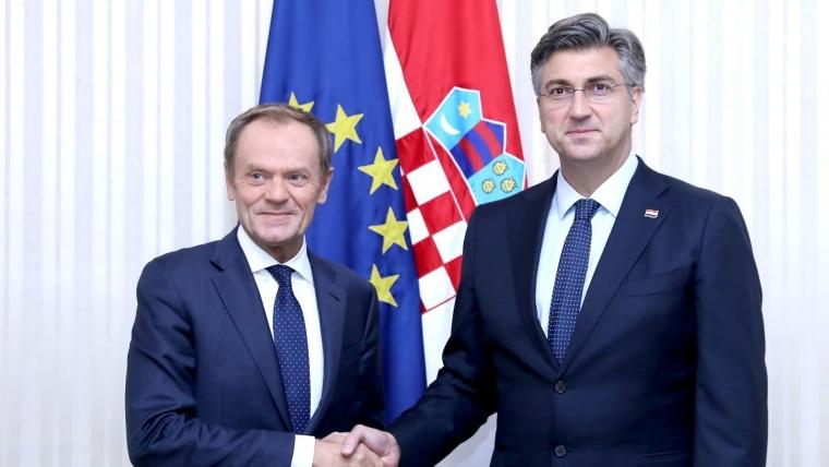 Andrej Plenković y Donald Tusk (Foto:  Patrik Macek / PIXSELL)