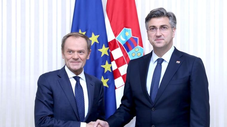 Der kroatische Premierminister Andrej Plenković und Donald Tusk. (Foto: Patrik Macek_PIXSELL)