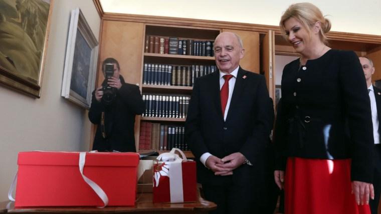 The President of the Swiss Confederation Ueli Maurer and Croatian President Kolinda Grabar-Kitarović. (Photo: Slavko Midzor/PIXSELL)