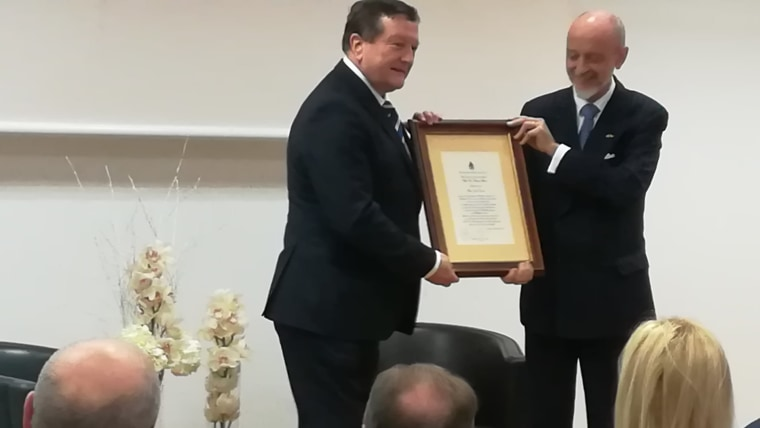 Entrega del premio Juan Vucetich (Foto: David Rey / La Voz de Croacia)