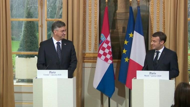 Primer Ministro croata, Andrej Plenković junto al presidente de Francia, Emmanuel Macron (Foto: HRT)