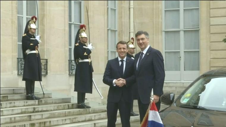 French President Emmanuel Macron and Croatian Prime Minister Andrej Plenković (Photo: HRT)