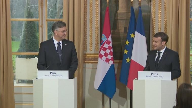Premierminister Andrej Plenković bei Präsident Macron in Paris (Foto: HRT)