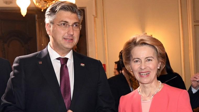 Croatian Prime Minister Andrej Plenković (L) European Union Commission President Ursula Von der Leyen (R) (Photo: Josip Regovic/PIXSELL)