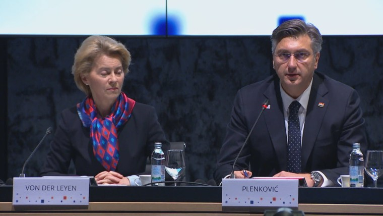 Andrej Plenkovic y Ursula Von der Leyen (Foto: HRT)