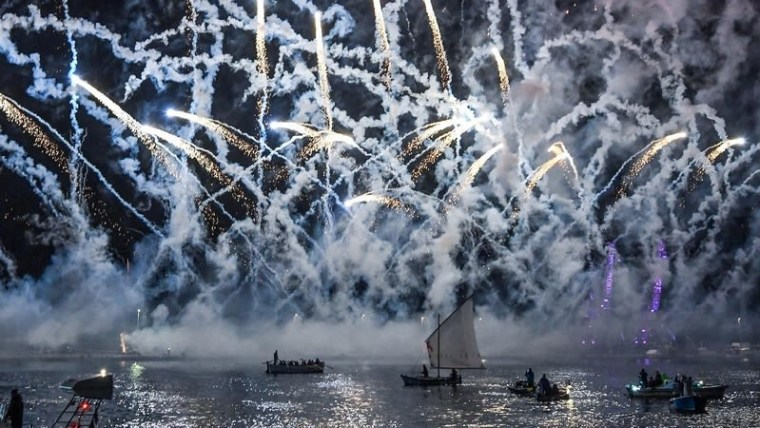 Fireworks in Rijeka's port to celebrate the city's stint as a European Capital of Culture (Josip Regovic/PIXSELL)
