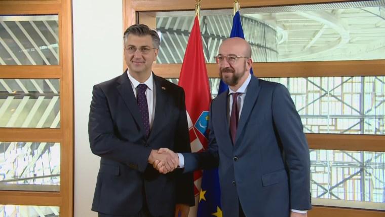 Premier Andrej Plenković mit dem Präsidenten des Europarates Charles Michel (Foto: HRT)