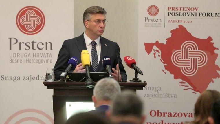Prime Minister Andrej Plenković addressing the business forum in Zagreb (Photo: Davor Puklavec/PIXSELL)