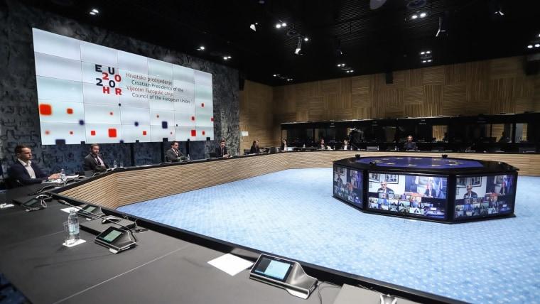Videoconferencia de los ministros de finanzas de la UE (Foto: Luka Stanzl/PIXSELL)