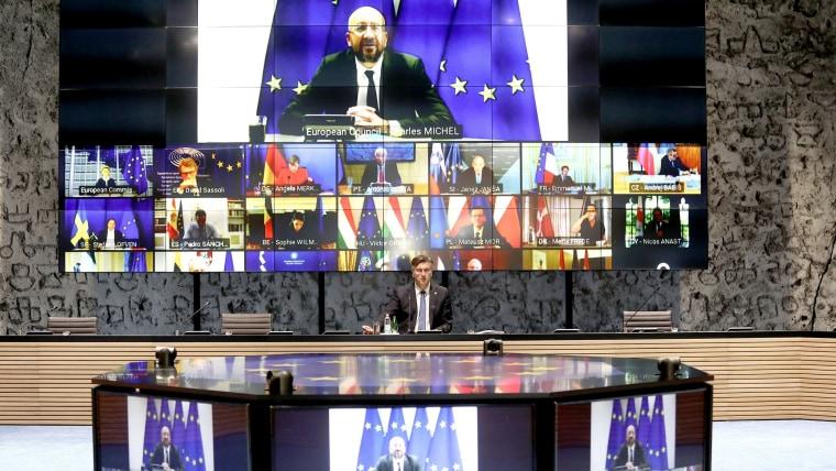 Prime Minister Andrej Plenković and EU leaders (Photo: Patrik Macek/PIXSELL)