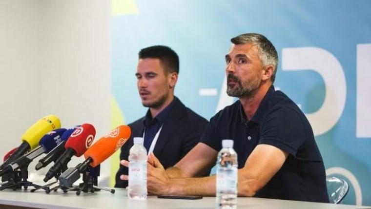 Đorđe Đoković and Goran Ivanišević speak to reporters about the cancelation of the tournament (Photo: Marko Dimic/PIXSELL)