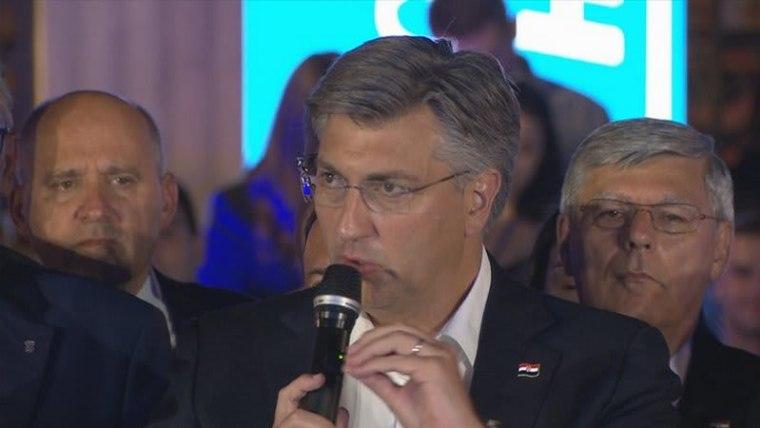 Andrej Plenković gives his victory speech (Photo: Patrik Macek/PIXSELL)