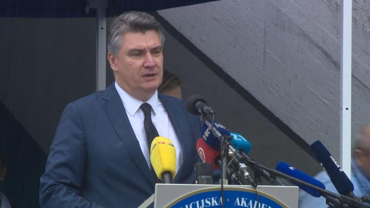 President Zoran Milanović at the Zagreb Police Academy (Photo: HRT)