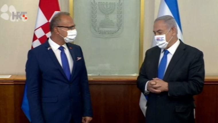 Minister Gordan Grlić Radman in Jerusalem mit dem israelischen Premier Benjamin Netanyahu (Foto: HRT)