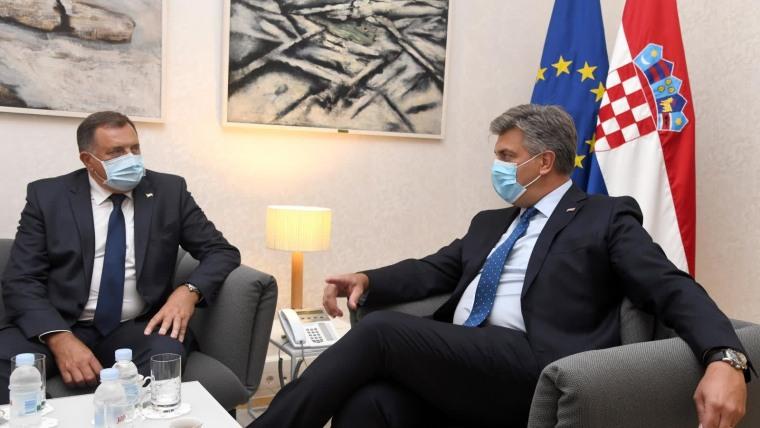 Das serbische Mitglied des Staatspräsidiums von Bosnien-Herzegowina Milorad Dodik in Zagreb mit dem Premierminister Andrej Plenković (Foto: Josip Regovic/PIXSELL)