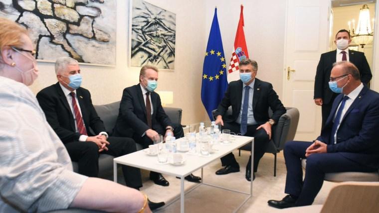 AndrejPlenković,DraganČovićundBakirIzetbegović(Foto: GoranStanzl/PIXSELL)