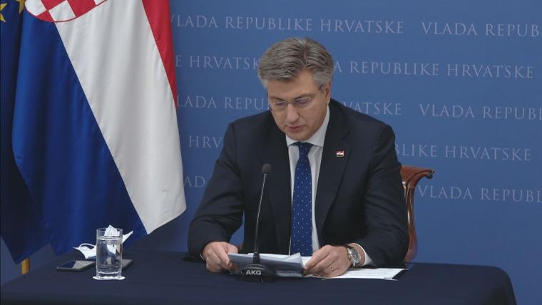 Prime Minister Andrej Plenković at today's press conference (Photo: HRT)