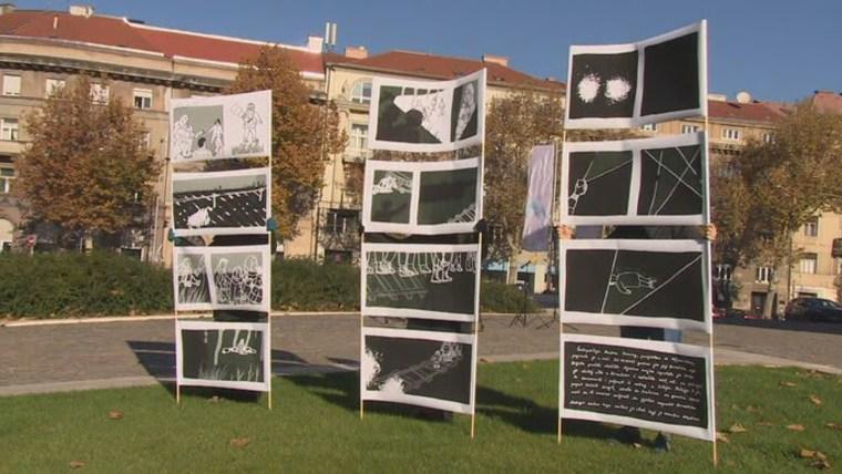 Aktivisten haben in der Innenstadt von Zagreb einen Comic präsentiert, der die Geschichte der verstorbenen Madina Hussiny erzählt. (Foto: HRT)