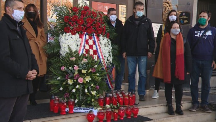 "Hrvoje Bujas and his organization staged a mock funeral to mourn the ""death of entrepreneurship"" in Croatia (Photo: HRT)"