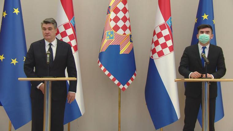 President Zoran Milanović (L) Velibor Mačkić (R) (Screenshot: HRT)